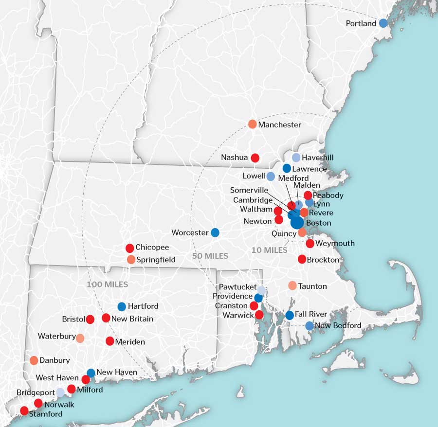 Population change in New England cities