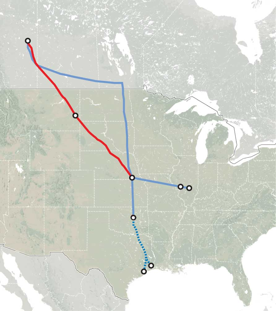 Map of the oil pipeline from Hardisty (Canada) to Houston and the proporsal to link directly Hasdisty and Steele City (NE)