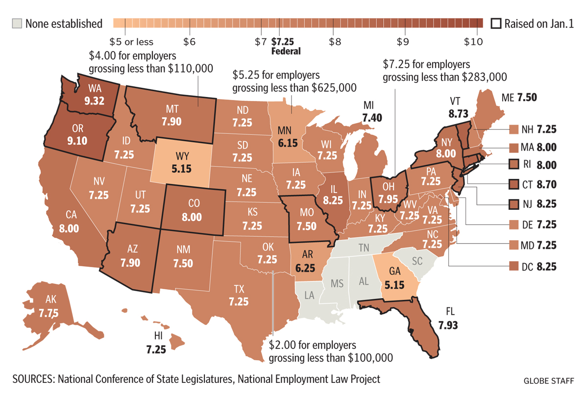 Minimum Wage In US - Map of minimum wage in us
